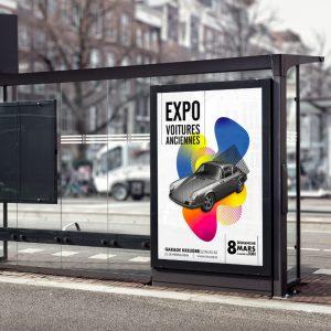 affiche organique expo voiture